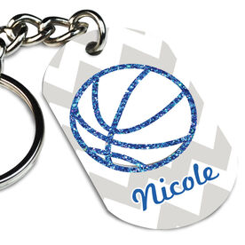Basketball Printed Dog Tag Keychain Personalized Glitter Basketball