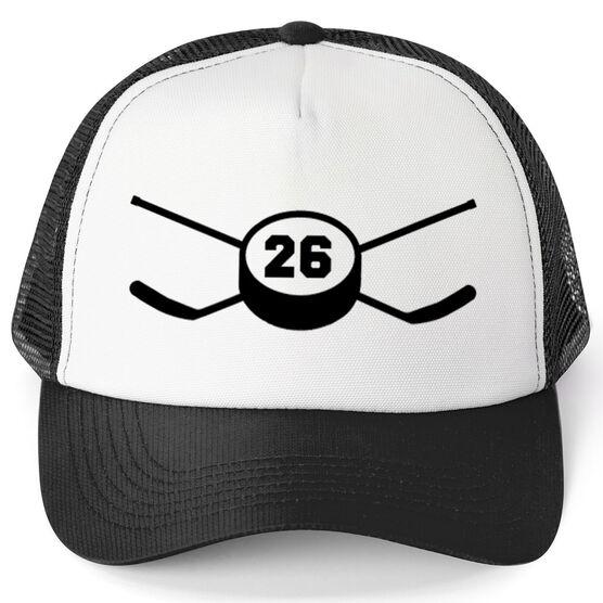 af6dd706c0f Hockey Trucker Hat Crossed Sticks Your Number