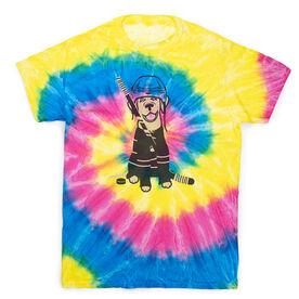 Hockey Short Sleeve T-Shirt - Hunter The Hockey Dog Tie Dye