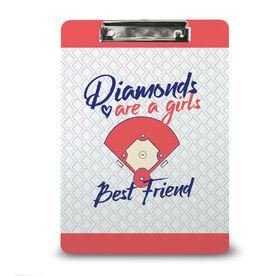 Softball Custom Clipboard Softball Diamonds Are A Girl's Best Friend