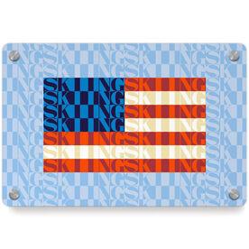 Skiing Metal Wall Art Panel - American Flag Mosaic