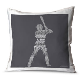 Baseball Throw Pillow Personalized Baseball Words Batter
