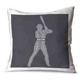 Baseball Throw Pillow Personalized Baseball Words Batter