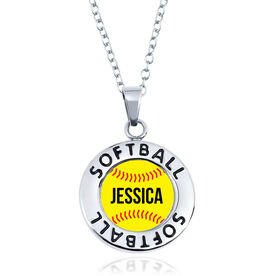Softball Circle Necklace - Ball With Name