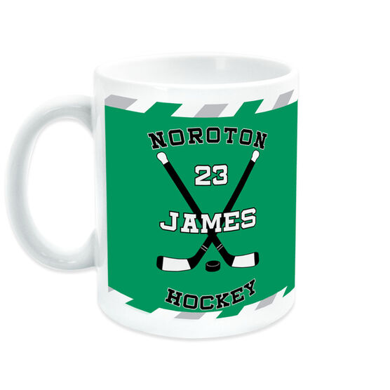 Hockey Coffee Mug Personalized Player with Crossed Sticks