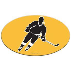 Hockey Oval Car Magnet Slanted Skater