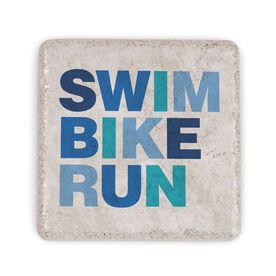 Triathlon Stone Coaster - Swim Bike Run