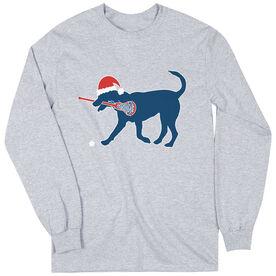 Girls Lacrosse Long Sleeve T-Shirt - Christmas Dog