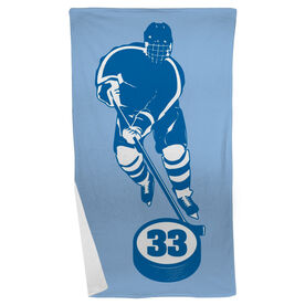 Hockey Beach Towel Personalized Skater with Puck