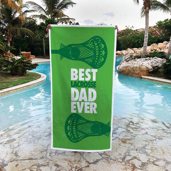 Guys Lacrosse Premium Beach Towel - Best Dad Ever