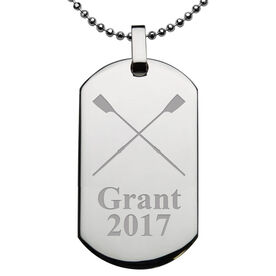 Rowing Engraved Stainless Steel Dog Tag Necklace
