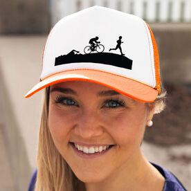 Triathlon Trucker Hat Swim Bike Run Silhouettes