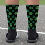 Printed Mid-Calf Socks - Clover Pattern