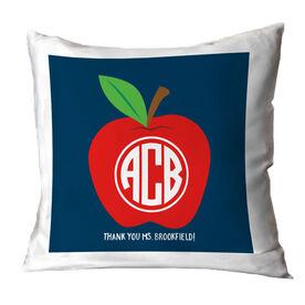 Teacher Throw Pillow - Monogram Apple