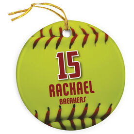 Softball Porcelain Ornament Personalized Big Number with Softball Stitches