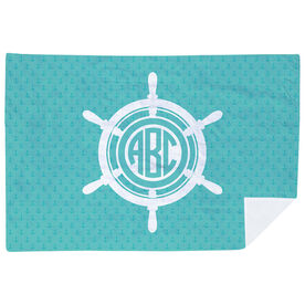Personalized Premium Blanket - Monogram Ship Wheel