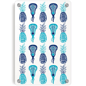 Girls Lacrosse Metal Wall Art Panel - Pineapples