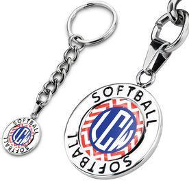 Softball Circle Keychain LV Chevron Monogram