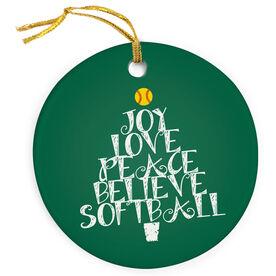 Softball Porcelain Ornament Word Christmas Tree