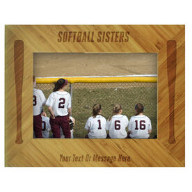 Softball Bamboo Engraved Picture Frame Softball Sisters