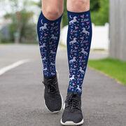 Girls Lacrosse Printed Knee-High Socks - Lax Unicorns