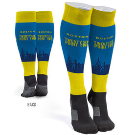 Running Printed Knee-High Socks - Boston Marathon Skyline