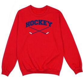 Hockey Crew Neck Sweatshirt - Hockey Crossed Sticks