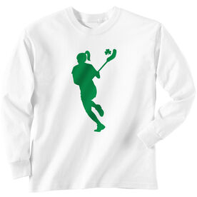 Girls Lacrosse Long Sleeve T-Shirt - Lax Girl with Shamrock