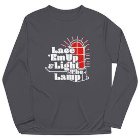 Hockey Long Sleeve Performance Tee - Lace 'Em Up And Light The Lamp