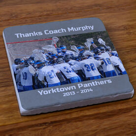 Lacrosse Stone Coaster Personalized Thanks Coach Guys Lacrosse Photo