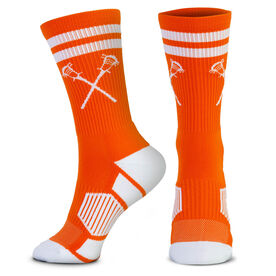 Guys Lacrosse Woven Mid-Calf Socks - Retro Crossed Sticks (Orange/White)