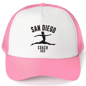 Gymnastics Trucker Hat - Team Name Coach With Curved Text