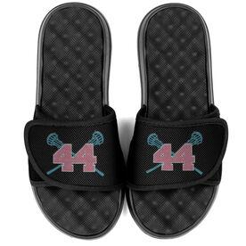 Girls Lacrosse PR SOLES® Adjustable Strap Recovery Slide Sandals - Crossed Sticks with Number