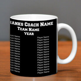 Baseball Coffee Mug Thanks Coach Custom Logo With Team Roster