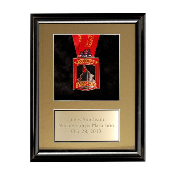 Wood Runners Medal Display Frame with Brass Engraved Plate