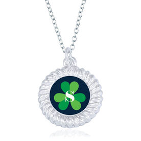 Personalized Braided Circle Necklace - Shamrock With Initial