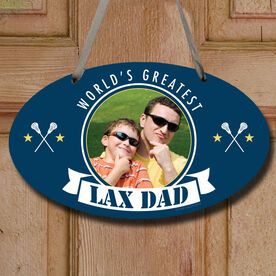 World's Greatest Lax Dad (Guy Stick) Custom Photo Decorative Oval Sign