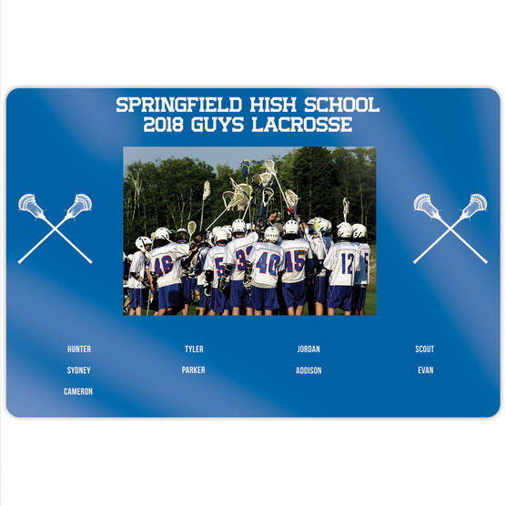 """Guys Lacrosse 18"""" X 12"""" Aluminum Room Sign - Team Photo With Roster"""