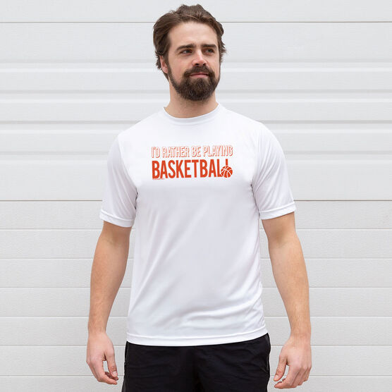 Basketball Short Sleeve Performance Tee - I'd Rather Be Playing Basketball