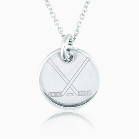 Sterling Silver 20mm Circle Necklace Hockey