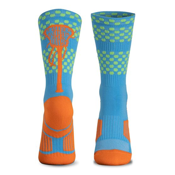 Girls Lacrosse Woven Mid-Calf Socks - Tropic (Blue/Green/Orange)