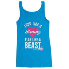 Girls Lacrosse Women's Athletic Tank Top Look Like A Beauty Play Like A Beast