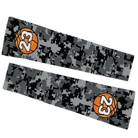 Basketball Printed Arm Sleeves - Digital Camo with Basketball Number
