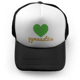 Gymnastics Trucker Hat Heart with Gold Glitter