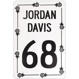"""Lacrosse Aluminum Room Sign Personalized Lacrosse Speed Sign Male (18"""" X 12"""")"""
