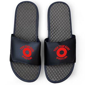 Wrestling Navy Slide Sandals - Your Team Name Wrestling