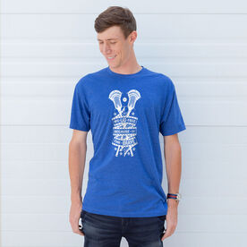 Guys Lacrosse Short Sleeve T-Shirt - We Lax Free Because Of The Brave