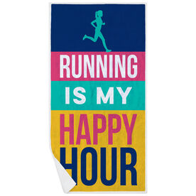 Running Premium Beach Towel - Running Is My Happy Hour