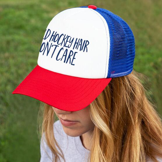 Field Hockey Trucker Hat - Field Hockey Hair Don't Care