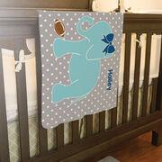 Football Baby Blanket - Football Elephant with Bow